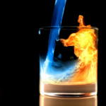 lower case love | water turning into fire in a glass